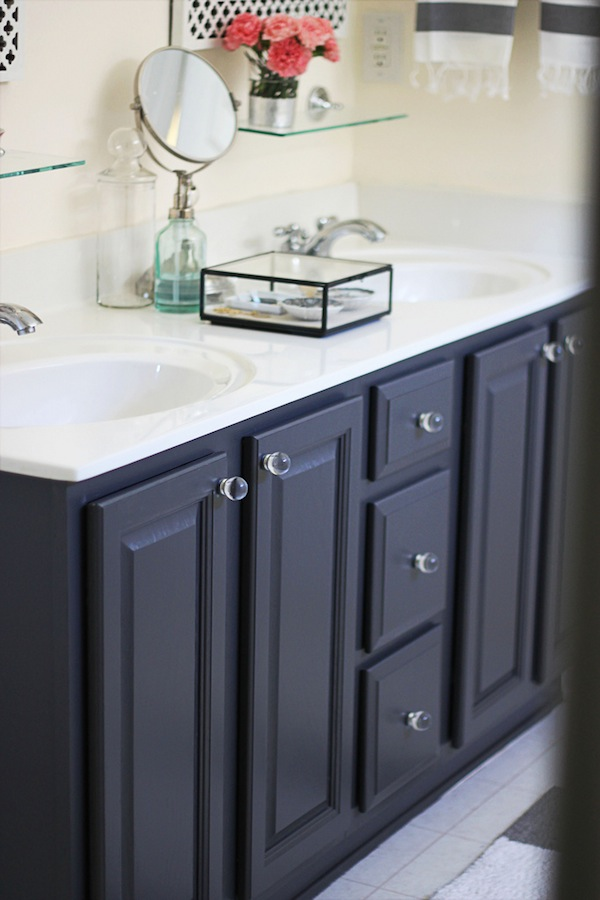 Painted gray vanity
