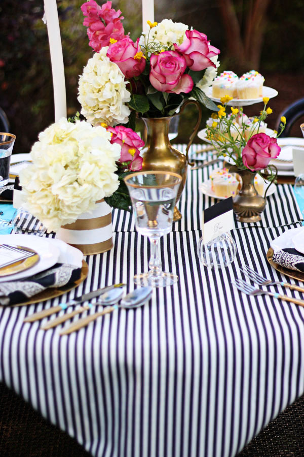 Black And White Stripe Table Runner Teal Pink Brass Wedding