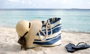 beach hat and bag