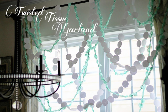 Twisted Tissue Garland DIY close| Two Delighted