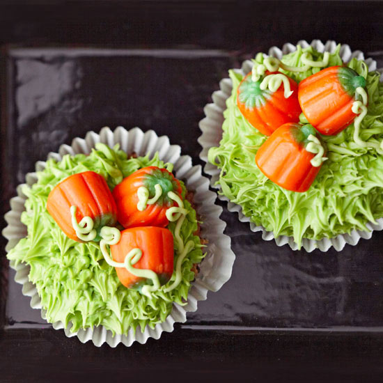 Halloween goodies pumpkin cupcakes