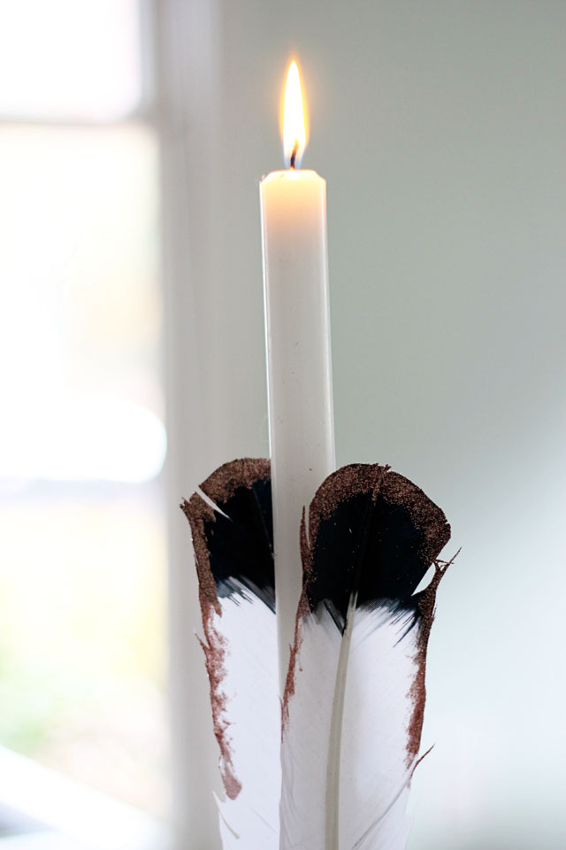 Feather candlestick diy 3