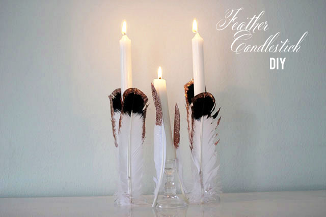 Feather candlestick diy far | Two Delighted