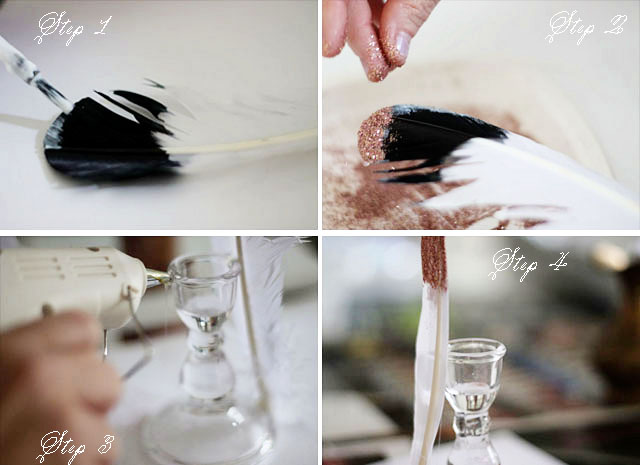 Feather candlestick diy steps | Two Delighted