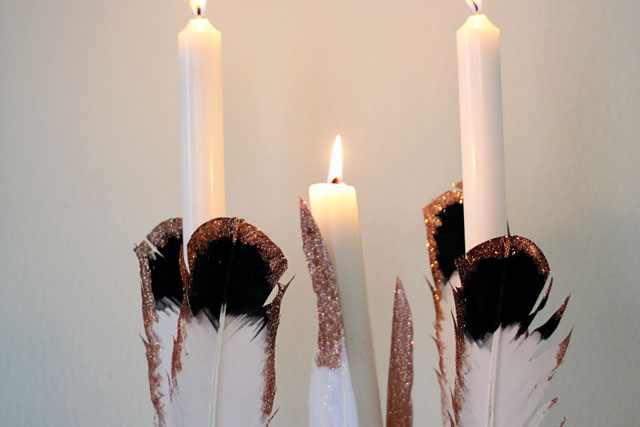 Feather candlestick diy | Two Delighted