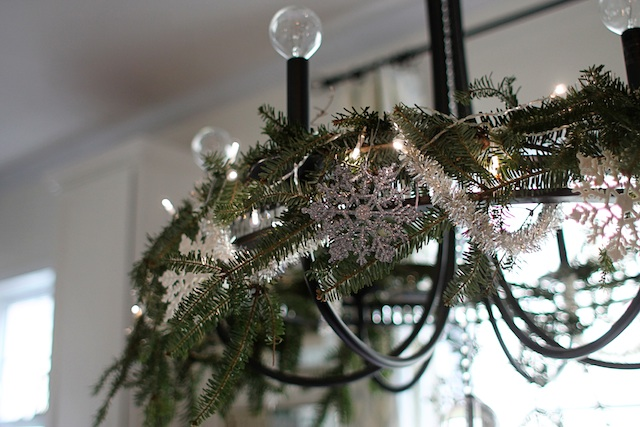 greenery chandelier close | Two Delighted