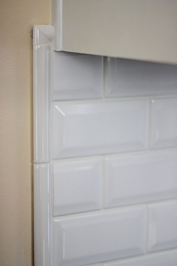 Kitchen Backsplash Beveled Subway Tile tiling backsplash {beveled subway tile} – two delighted