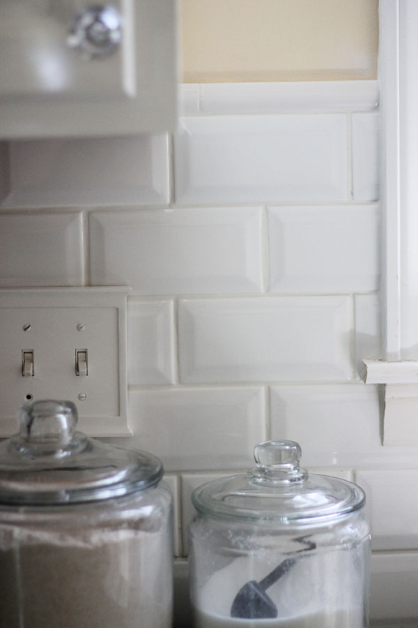 Attractive Tiling Backsplash {Beveled Subway Tile} – Two Delighted ZR33